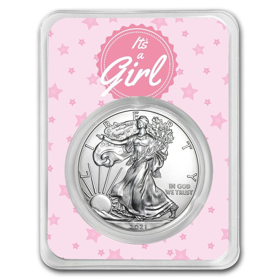 2021 1 oz Silver American Eagle - It's A Girl Stars
