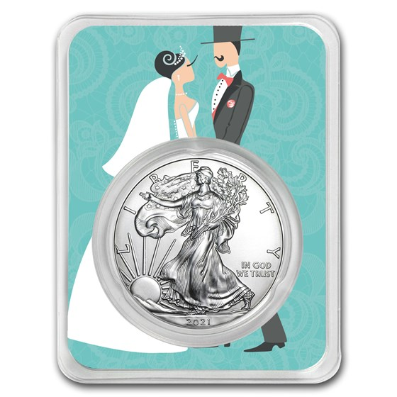 2021 1 oz Silver American Eagle - Just Married Couple
