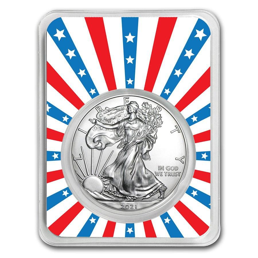 2021 1 oz Silver American Eagle - Stars & Stripes Burst