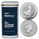 2021 1 oz Silver Britannia (25-Coin MintDirect® Tube)
