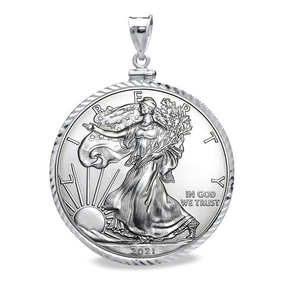 2021 1 oz Silver Eagle Pendant (Diamond-Cut ScrewTop Bezel)