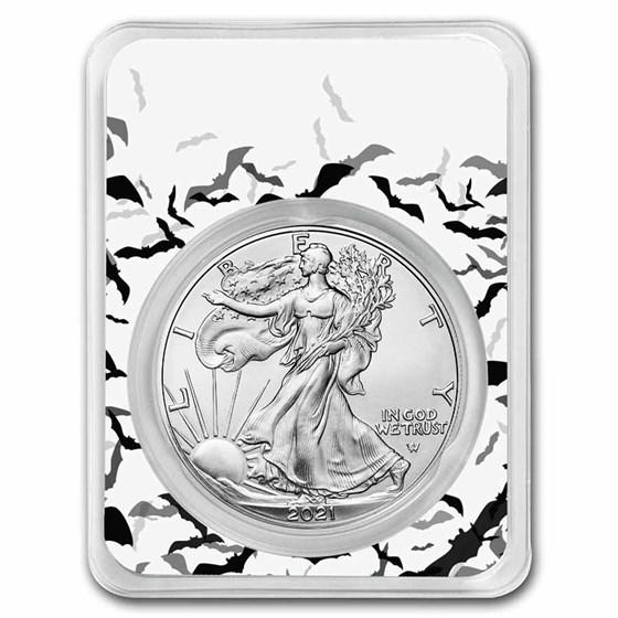 2021 1 oz Silver Eagle Type 2 - (w/Black Bats Card, In TEP)