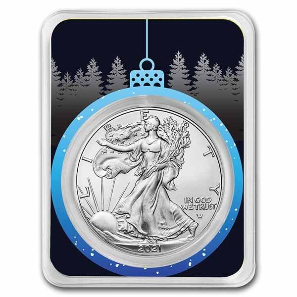 2021 1 oz Silver Eagle Type 2 - w/Blue Christmas Ornament Card