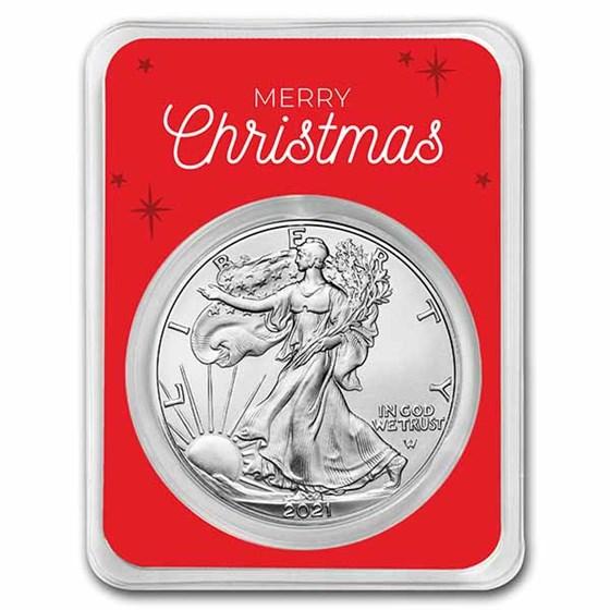 2021 1 oz Silver Eagle Type 2 - w/Christmas Snowy Village Card