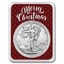 2021 1 oz Silver Eagle Type 2 - w/Elegant Merry Christmas Card