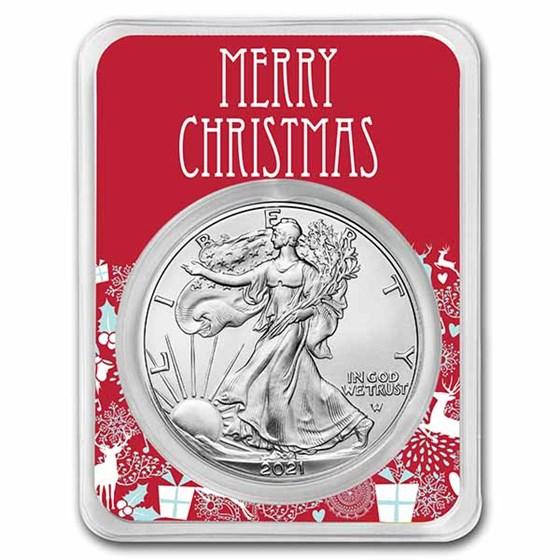 2021 1 oz Silver Eagle Type 2 - w/Festive Merry Christmas Card