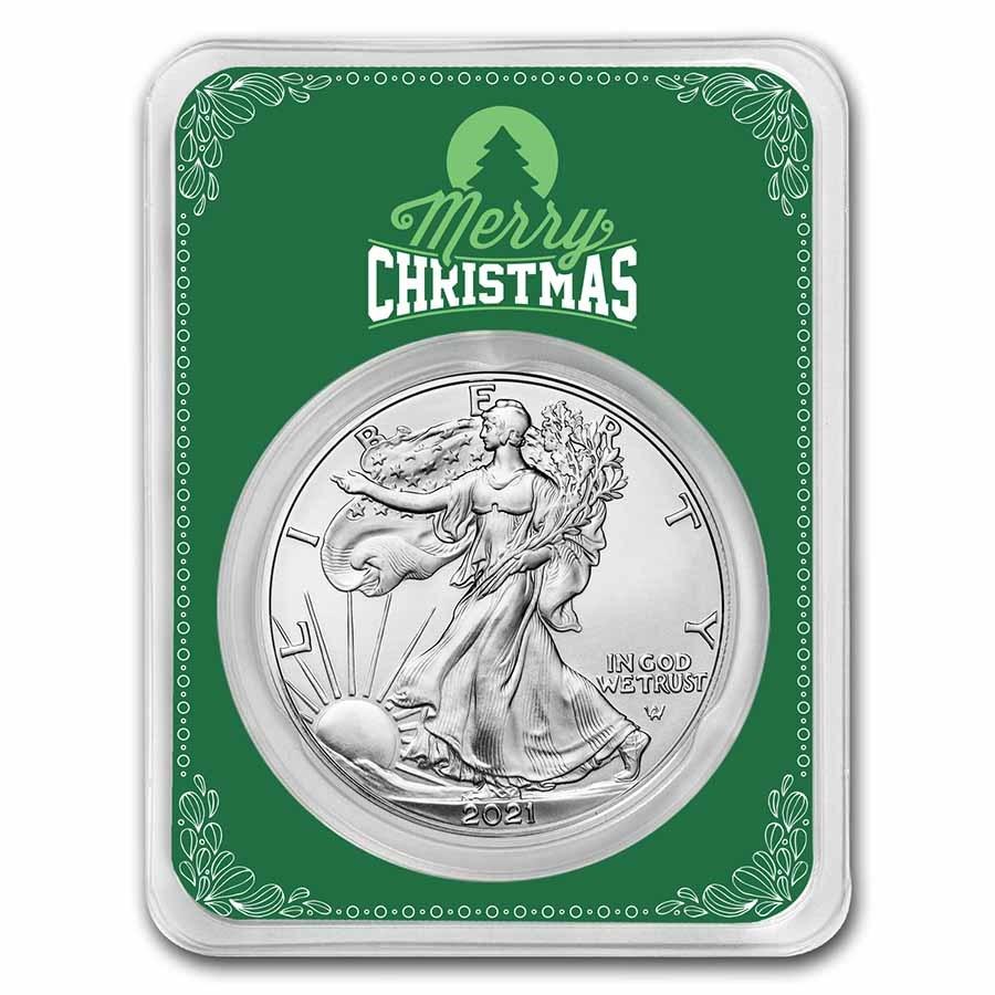 2021 1 oz Silver Eagle Type 2 - w/Green Merry Christmas Card