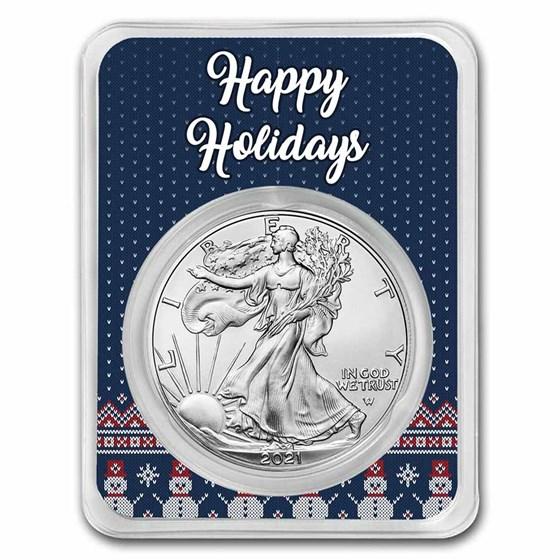 2021 1 oz Silver Eagle Type 2 - w/Happy Holidays Snowmen Card