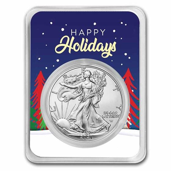 2021 1 oz Silver Eagle Type 2 - w/Happy Holidays Trees Card