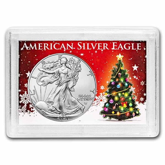 2021 1 oz Silver Eagle Type 2 - w/Harris Holder, Christmas Tree