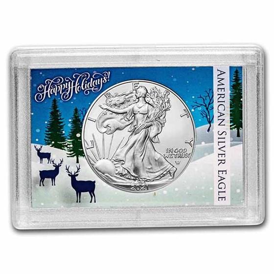 2021 1 oz Silver Eagle Type 2 - w/Harris Holder, Happy Holidays