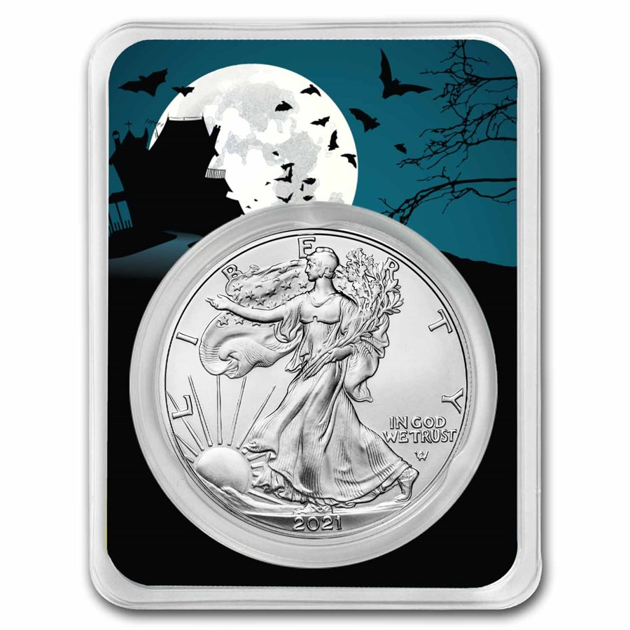2021 1 oz Silver Eagle Type 2 - (w/Haunted House Card, In TEP)