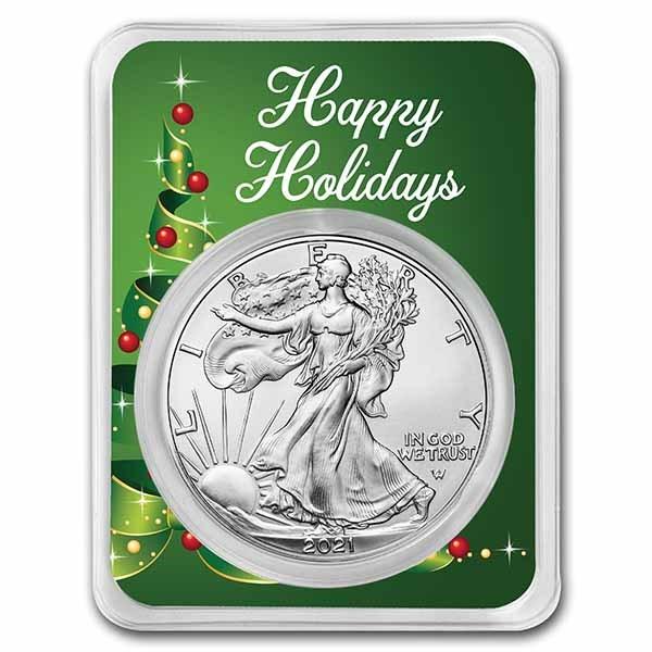 2021 1 oz Silver Eagle Type 2 - w/Holiday Ribbon Tree Card