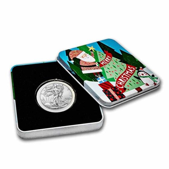 2021 1 oz Silver Eagle Type 2 - w/Holiday Tin, Christmas Tree
