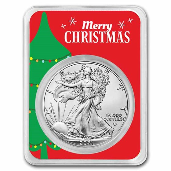 2021 1 oz Silver Eagle Type 2 - w/Merry Christmas Tree Card