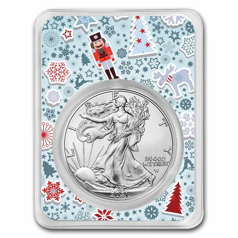 2021 1 oz Silver Eagle Type 2 - w/Nutcracker Collage Card