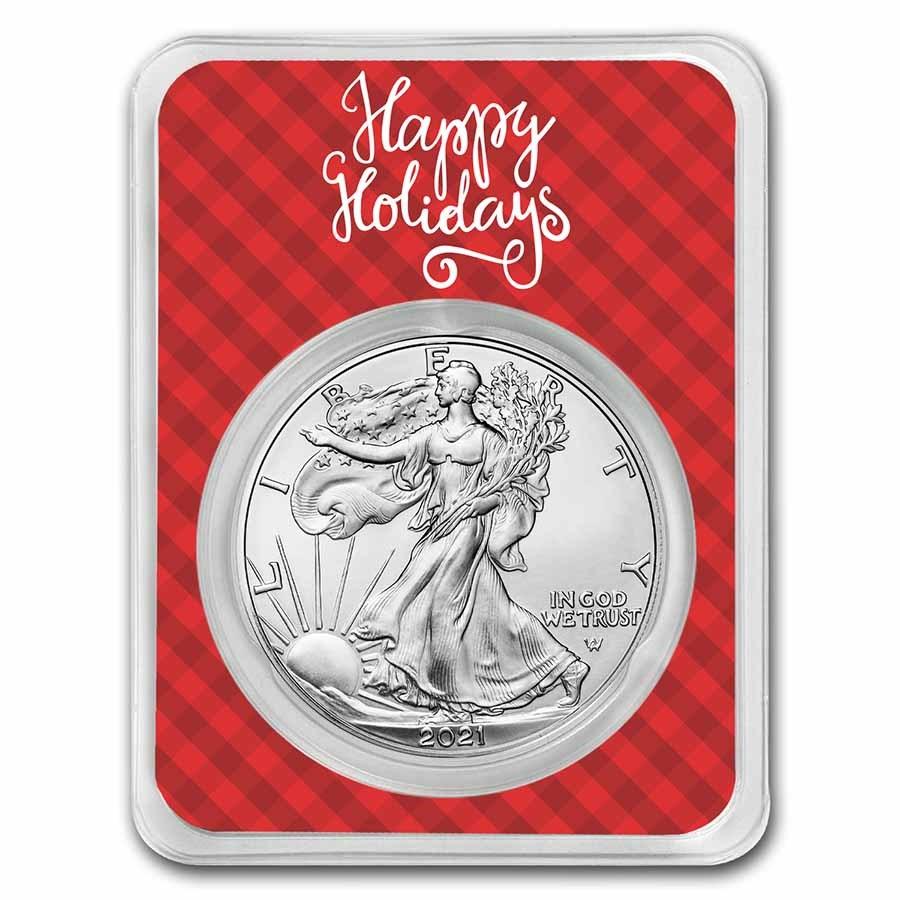 2021 1 oz Silver Eagle Type 2 - w/Plaid Happy Holidays Card