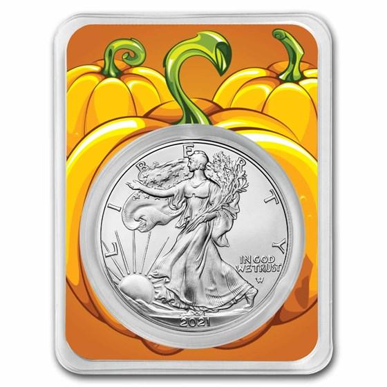 2021 1 oz Silver Eagle Type 2- (w/Pumpkin Patch Card, In TEP)