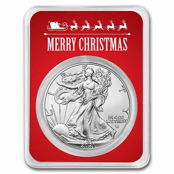 2021 1 oz Silver Eagle Type 2 - w/Red Merry Christmas Card