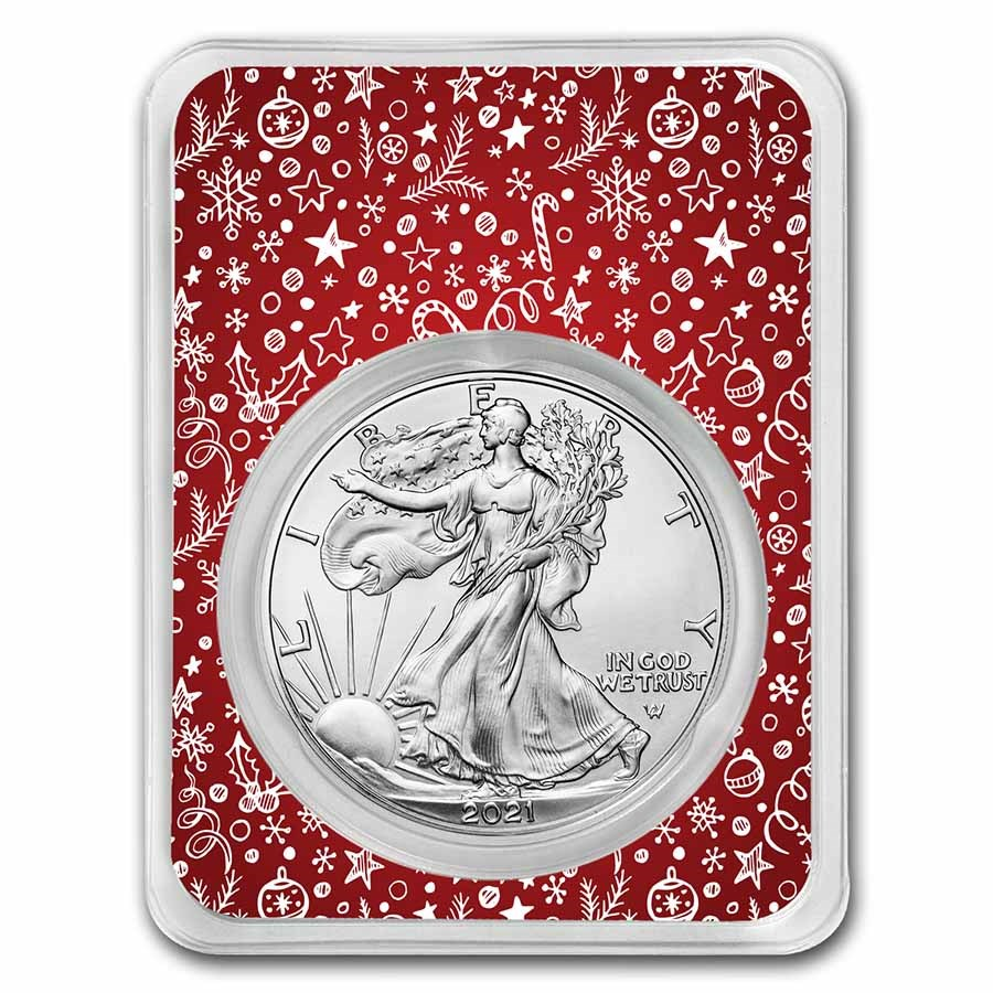 2021 1 oz Silver Eagle Type 2 - w/Red Winter Holiday Card
