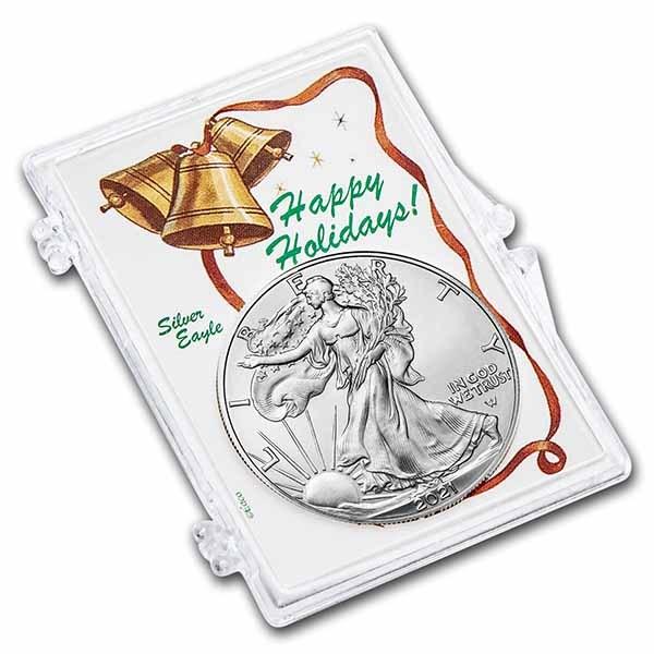 2021 1 oz Silver Eagle Type 2 - w/Snap-Lock Holder, Jingle Bell