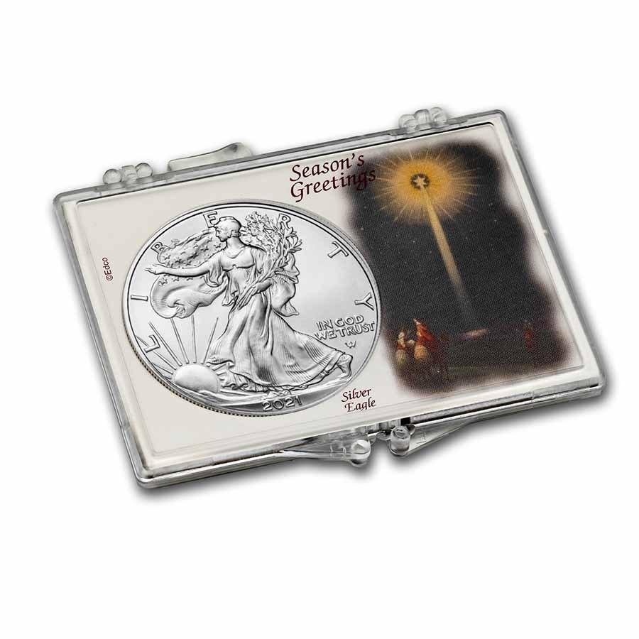 2021 1 oz Silver Eagle Type 2 - w/Snap-Lock, Season's Greetings