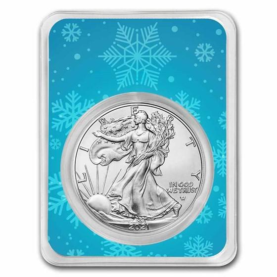 2021 1 oz Silver Eagle Type 2 - w/Snowflakes Card