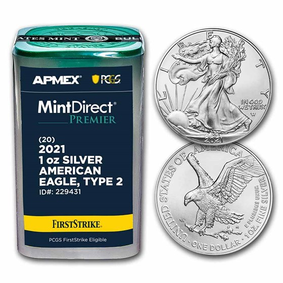 2021 1 oz Silver Eagles (MD Premier + PCGS FS Tube, Type 2)