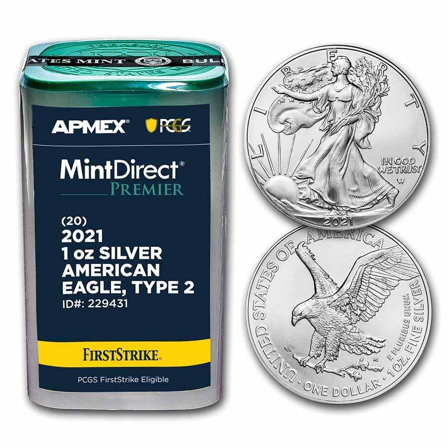 2021 1 oz Silver Eagles (Type 2) (MD Premier + PCGS FS Tube)