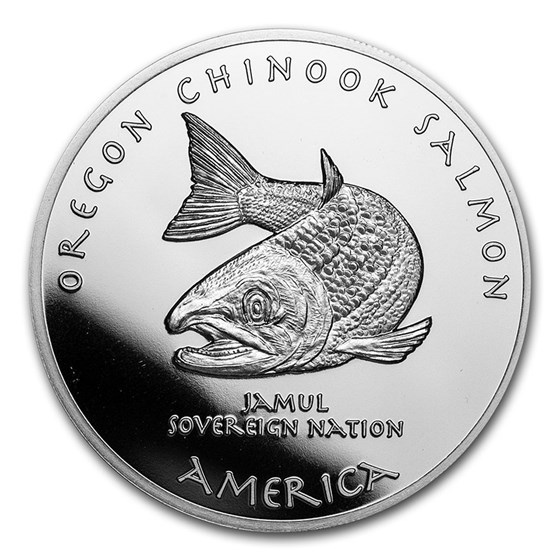 2021 1 oz Silver State Dollars Oregon Salmon