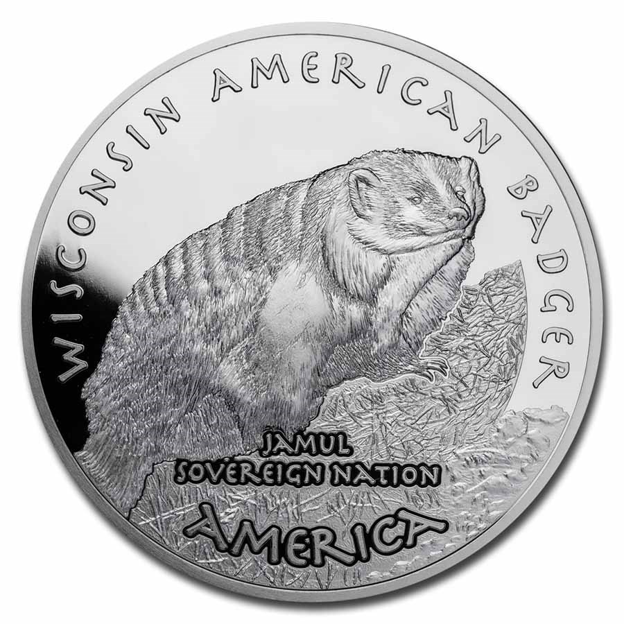 2021 1 oz Silver State Dollars Wisconsin American Badger