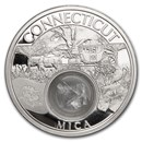 2021 1 oz Silver Treasures of the U.S. Connecticut Mica (Box/COA)