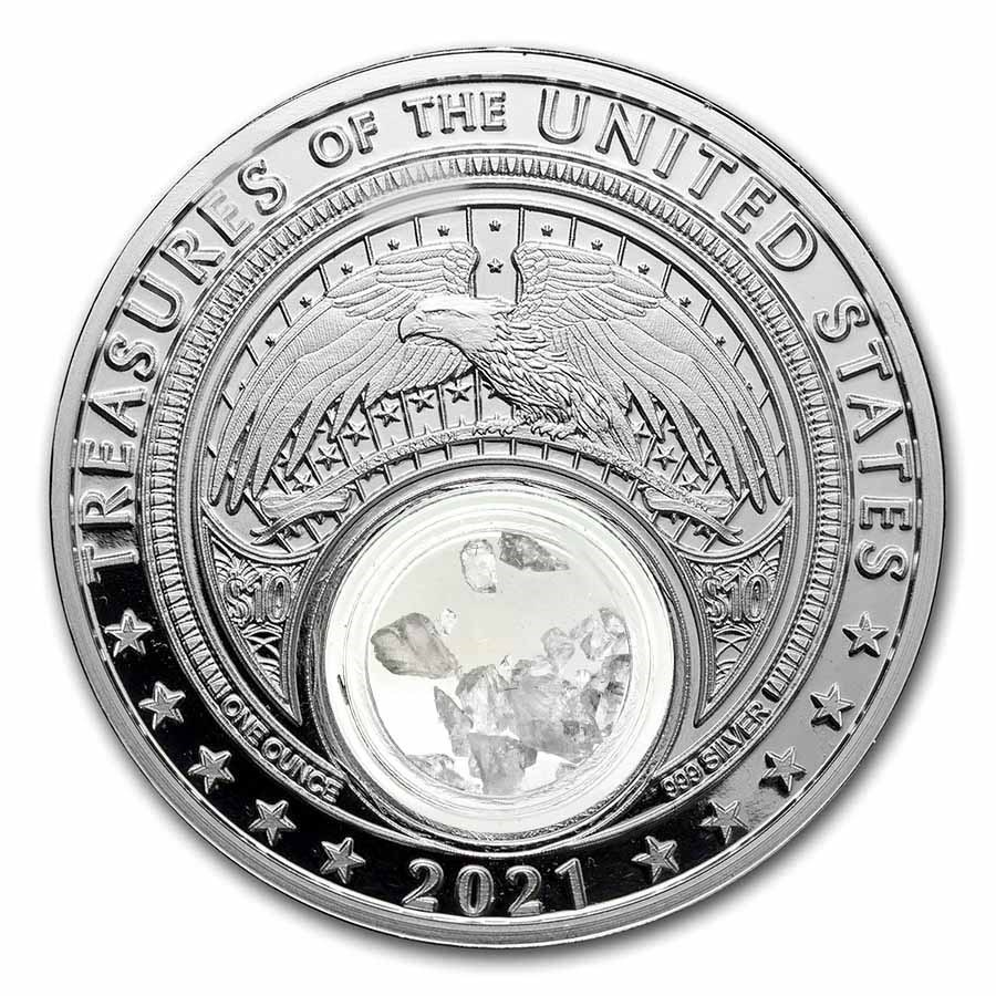 2021 1 oz Silver Treasures of the U.S. Iowa Quartz (Box/COA)