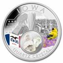 2021 1 oz Silver Treasures of the U.S. Iowa Quartz (Colorized)