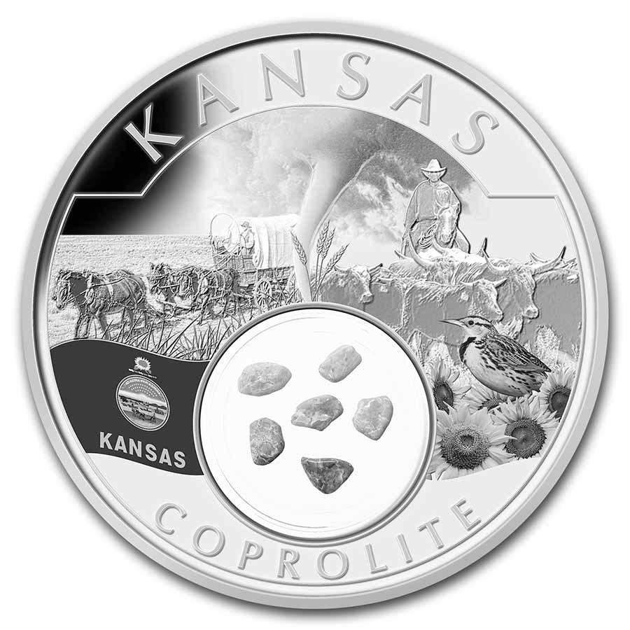 2021 1 oz Silver Treasures of the U.S. Kansas Coprolite (Box/COA)