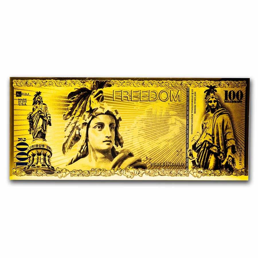 2021 100 Milligrams Gold Aurum Note - Freedom, 24K