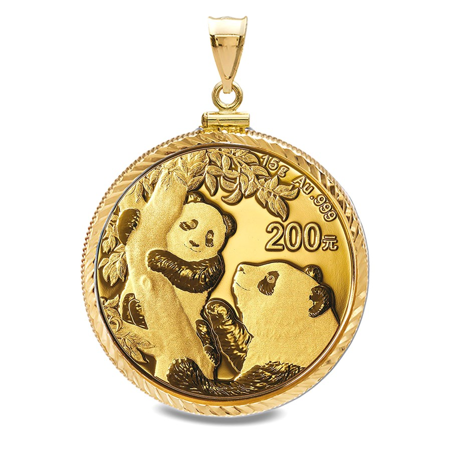 2021 15 gram Gold Panda Pendant (Diamond-Cut Screw Top Bezel)