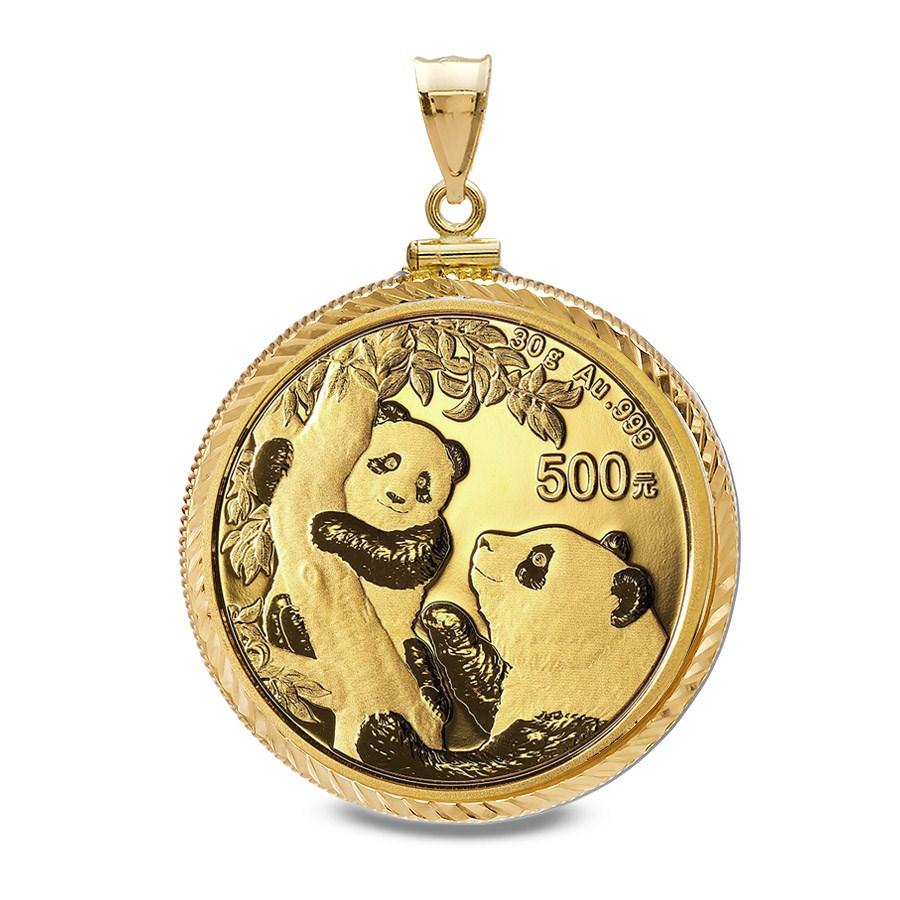 2021 30 gram Gold Panda Pendant (Diamond-Cut Screw Top Bezel)