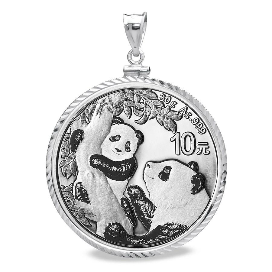 2021 30 gram Silver Panda Pendant (Diamond-ScrewTop Bezel)