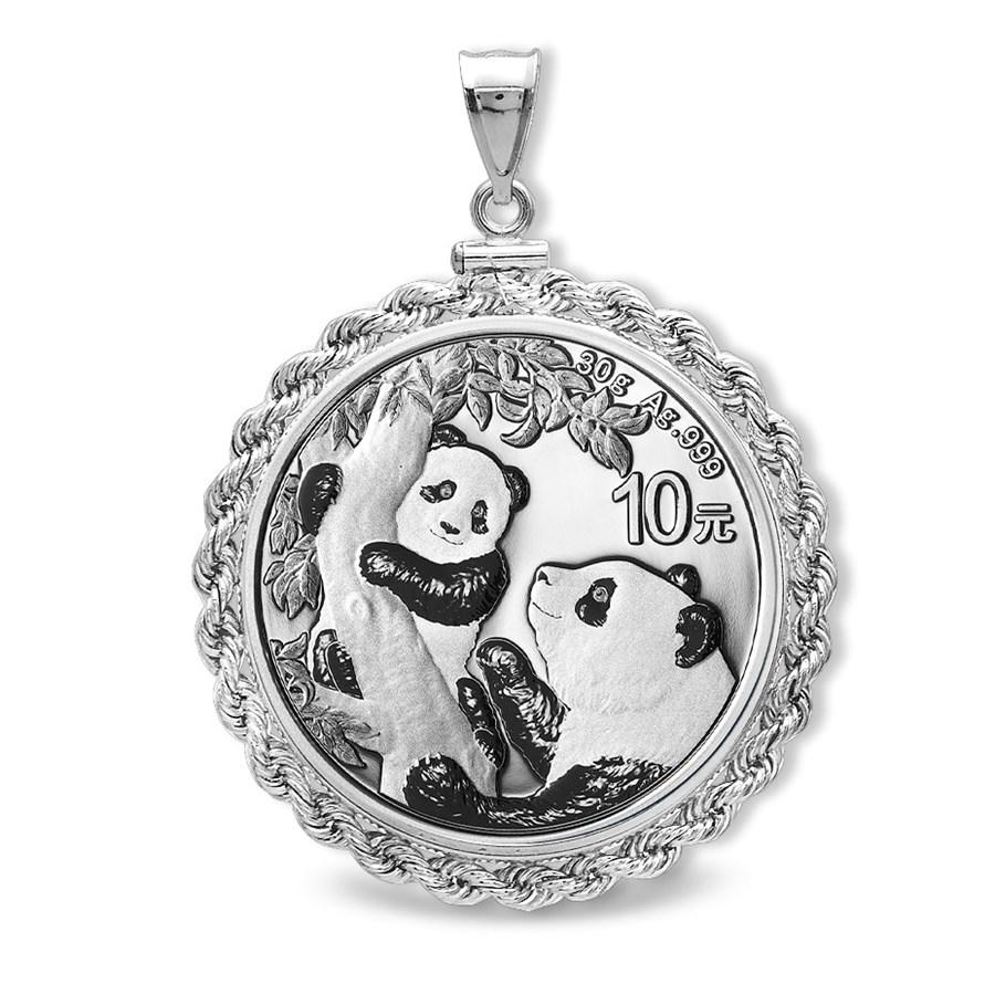 2021 30 gram Silver Panda Pendant (Rope-ScrewTop Bezel)