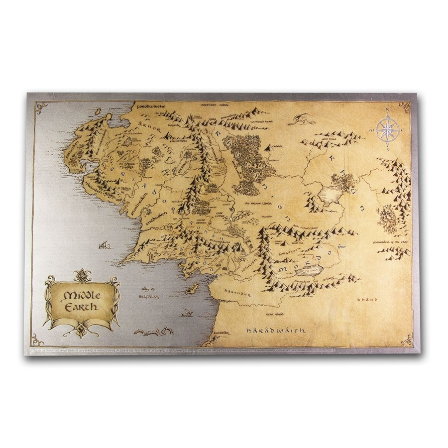 2021 35 gram Silver Foil $2 The Lord of the Rings - Middle Earth