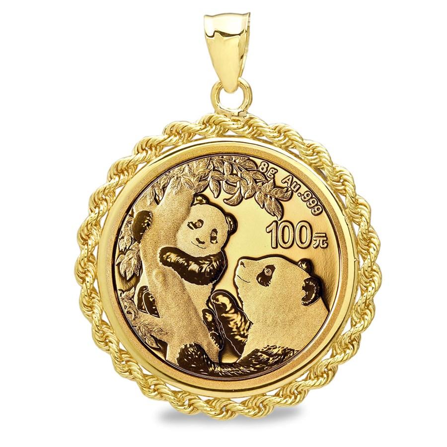 2021 8 gram Gold Panda Pendant (Rope-Screw Top Bezel)