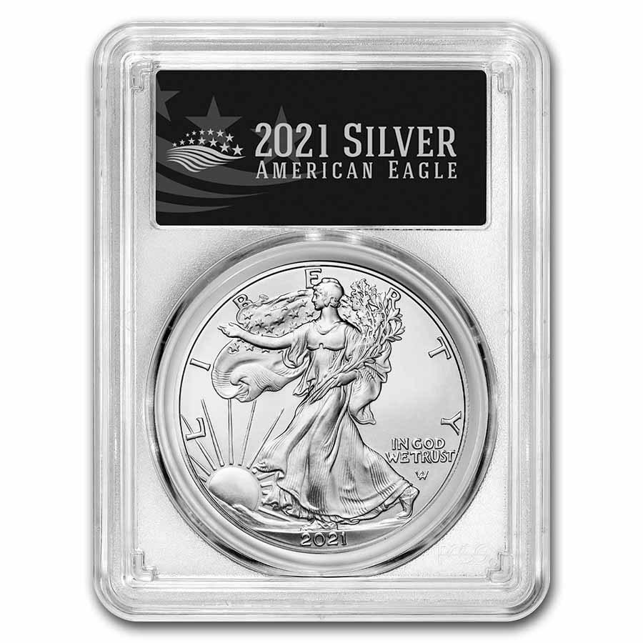 2021 American Silver Eagle MS-70 PCGS (FDI, Black Label, Type 2)