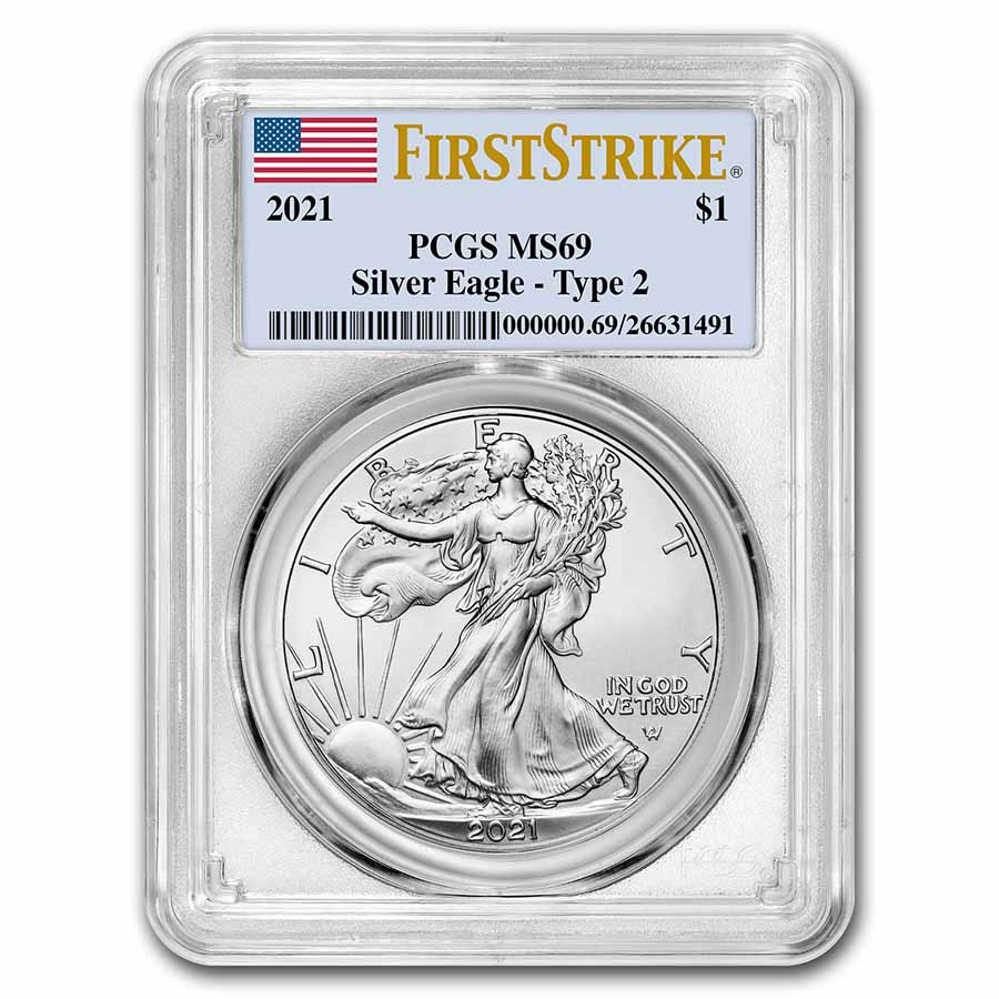 2021 American Silver Eagle (Type 2) MS-69 PCGS (FirstStrike®)