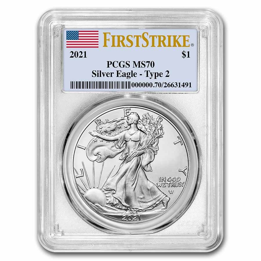 2021 American Silver Eagle (Type 2) MS-70 PCGS (FirstStrike®)