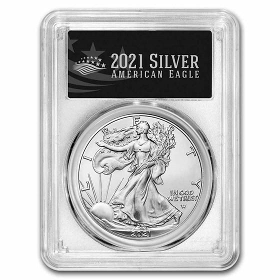 2021 American Silver Eagle (Type 2) MS-70 PCGS (FS, Black Label)