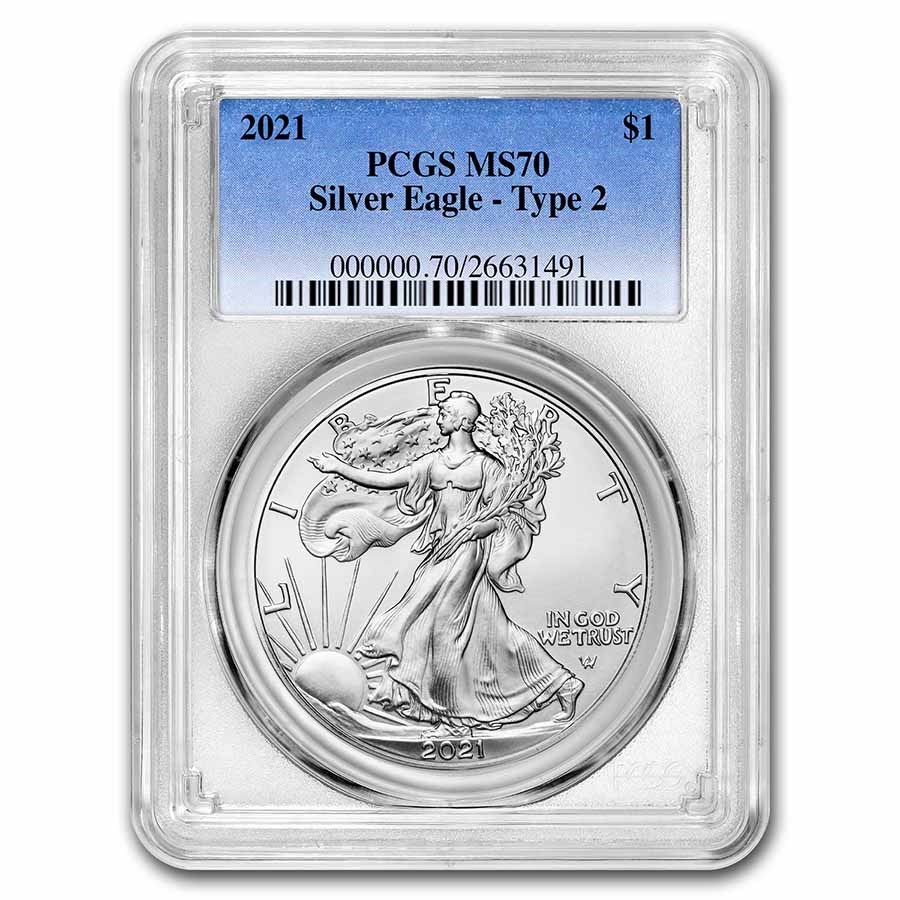 2021 American Silver Eagle (Type 2) MS-70 PCGS
