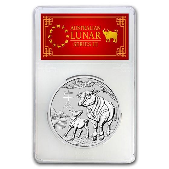 2021 AUS 1 kilo oz Silver Lunar Ox MS-70 PCGS (FS, Red Label)