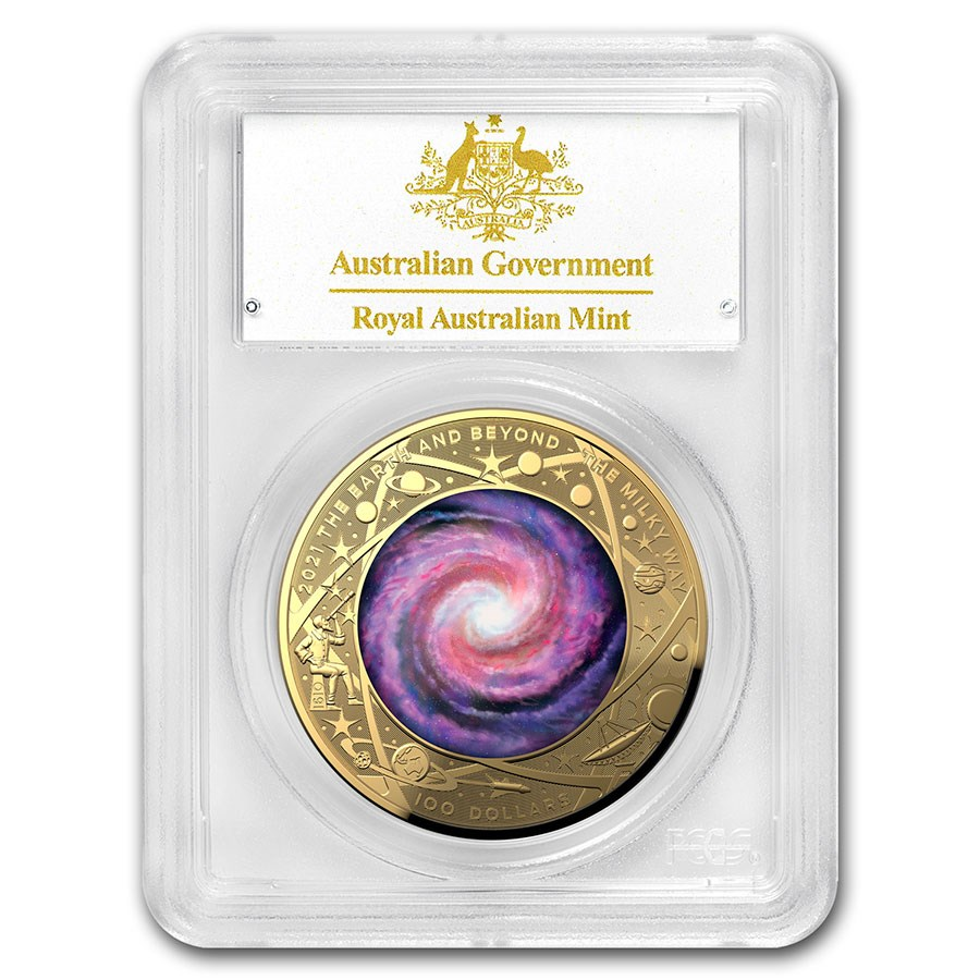 2021 AUS 1 oz Gold $100 Milky Way Domed PR-70 PCGS (First Day)