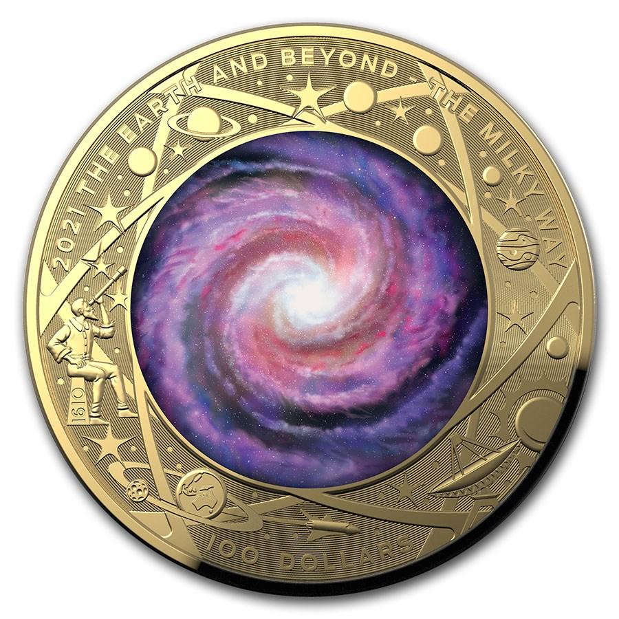 2021 AUS 1 oz Gold $100 Milky Way Domed Proof (w/Box & COA)
